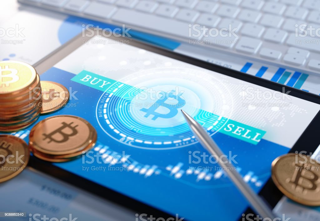 Bitcoin on the chip. new crypto currency concept,tech 3d illustration. stock photo