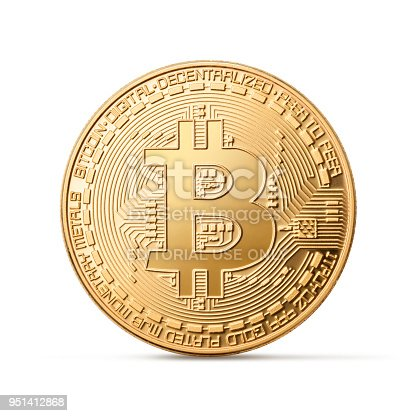 Verona, Italy, 24 April 2018. Golden bitcoin (virtual coins) isolated on white background. Bitcoin is a cryptographic currency and a peer-to-peer payment system invented by Satoshi Nakamoto.
