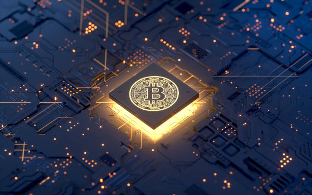 Bitcoin Bitcoin on motherboard,3d rendering,conceptual image. Cryptocurrency stock pictures, royalty-free photos & images