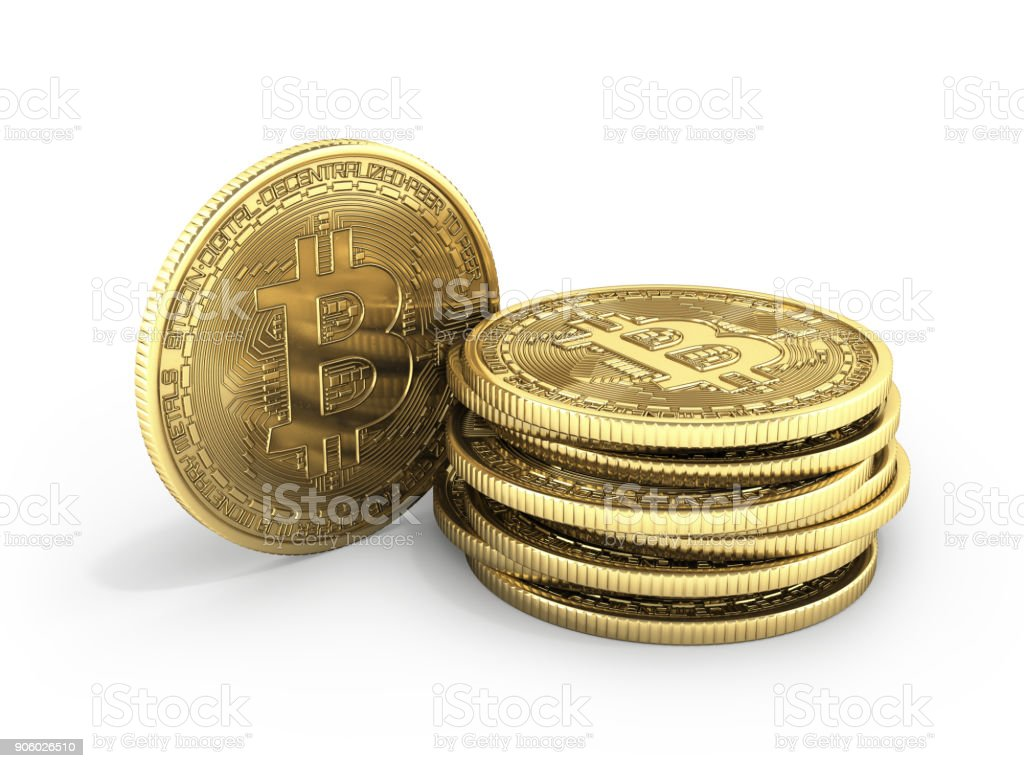 Bitcoin Pile of coins 3D isometric Physical bit coin in gold Digital currency Cryptocurrency Golden coins with symbol isolated on white background 3d render illustration stock photo