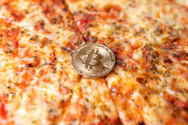 Bitcoin pizza day anniversary stock photo