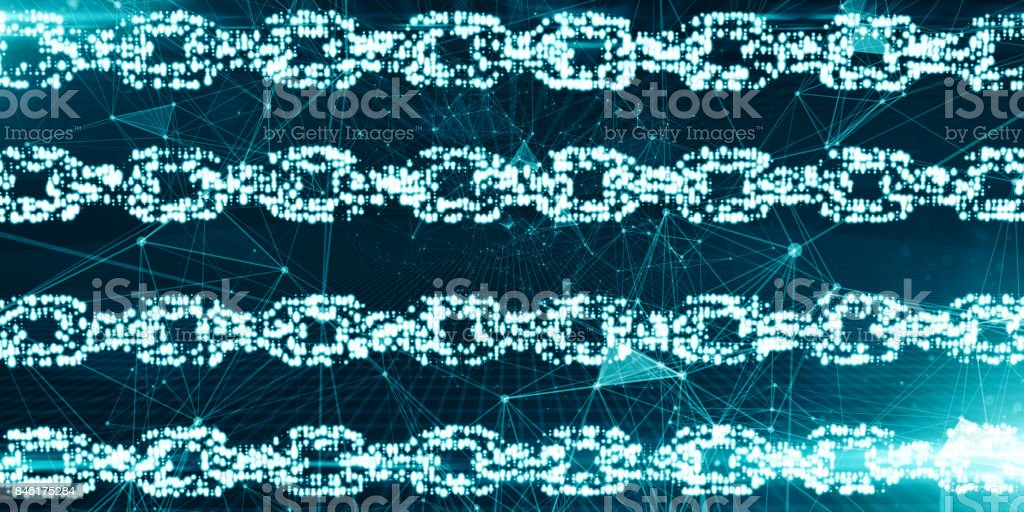 Bitcoin Secure global financial network crypto currency blockchain encryption stock photo