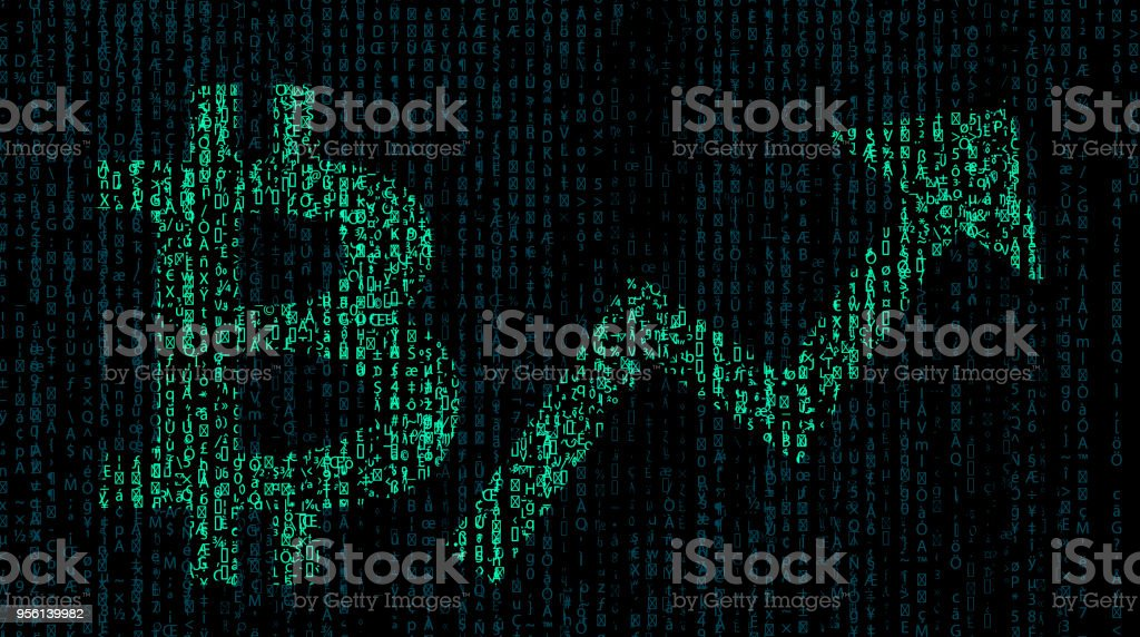 Bitcoin sign and rising chart with binary code background stock photo