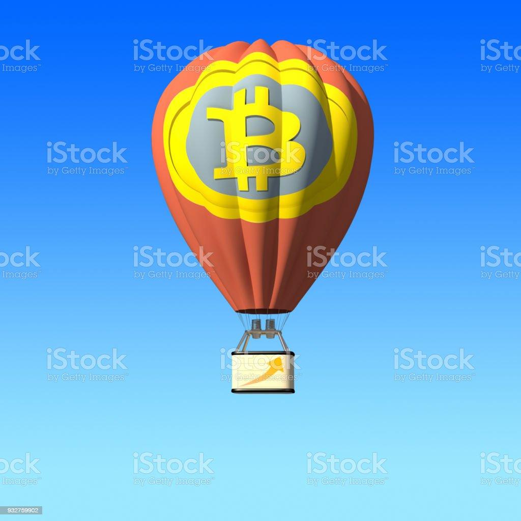Bitcoin Sign, Hot Air Balloon, Isolated stock photo