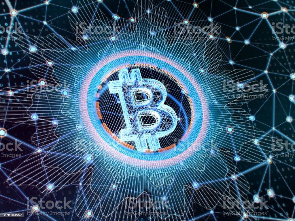 Bitcoin sign on blue digital background. 3d illustration. stock photo