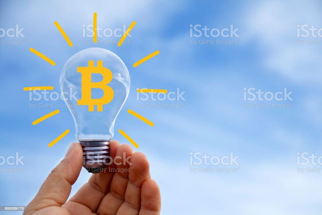 Bitcoin sign stock photo