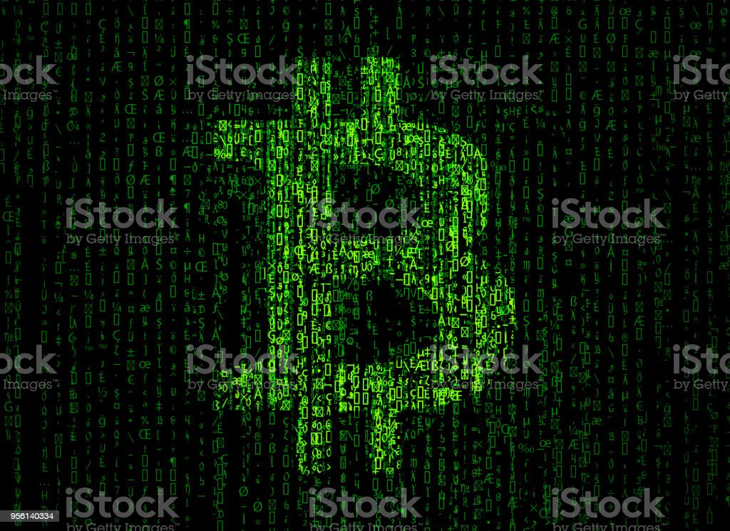 Bitcoin sign with binary code background stock photo