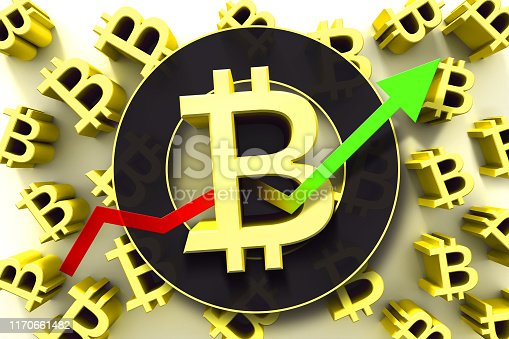 istock Bitcoin sign with up trend arrow. Trading concept of crypto currency. 3D illustration. 1170661482