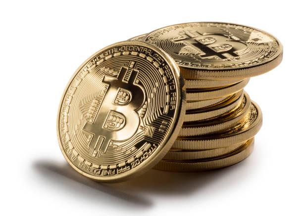 Bitcoin Stack on White Background stock photo