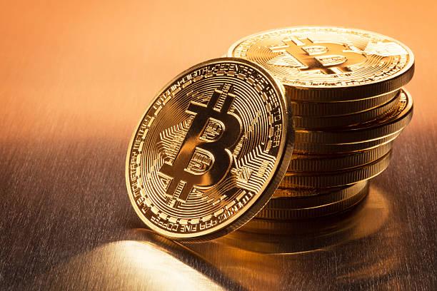 Bitcoin Stack stock photo