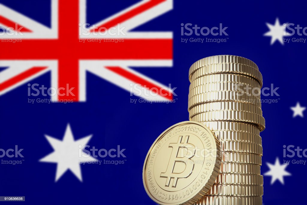 Bitcoin stack with Australia flag in the background stock photo