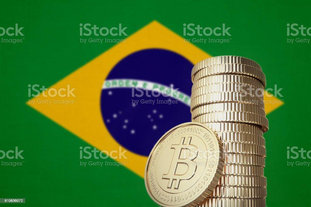 Bitcoin pilha com bandeira do Brasil no fundo - foto de acervo