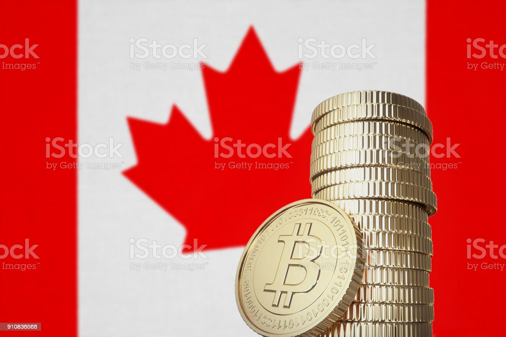 Bitcoin stack with Canada flag in the background stock photo