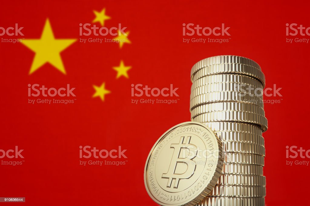 Bitcoin stack with China flag in the background stock photo