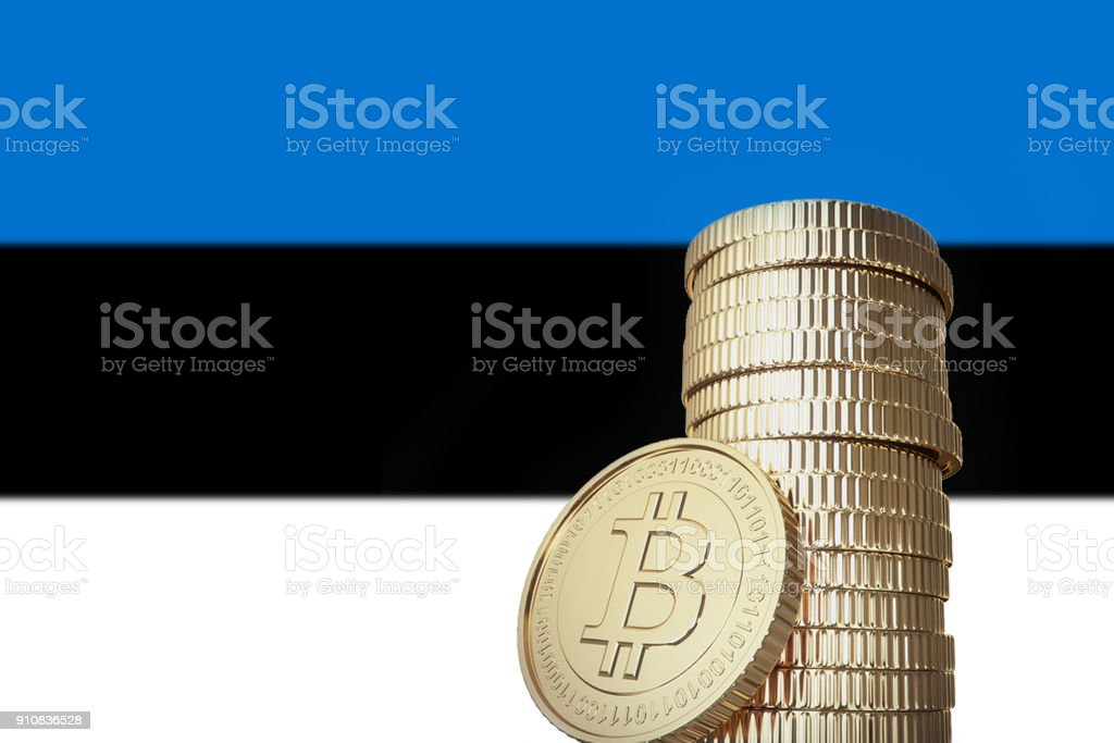 Bitcoin stack with Estonia flag in the background stock photo
