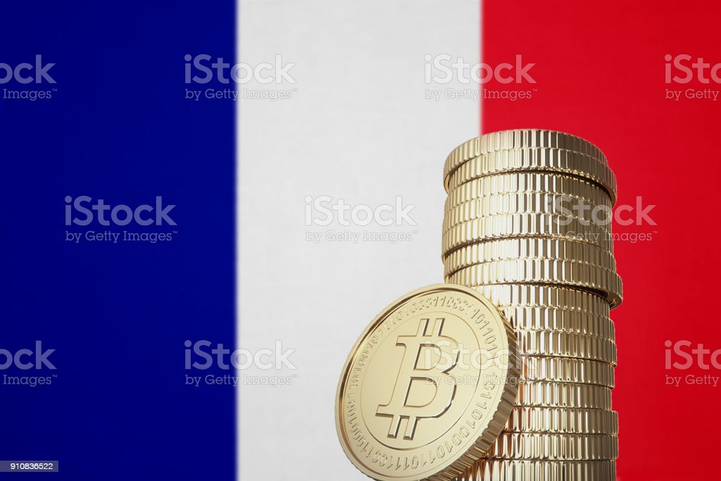 Bitcoin stack with France flag in the background stock photo