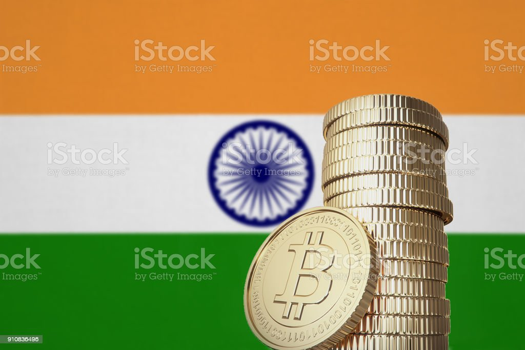 Bitcoin stack with India flag in the background stock photo
