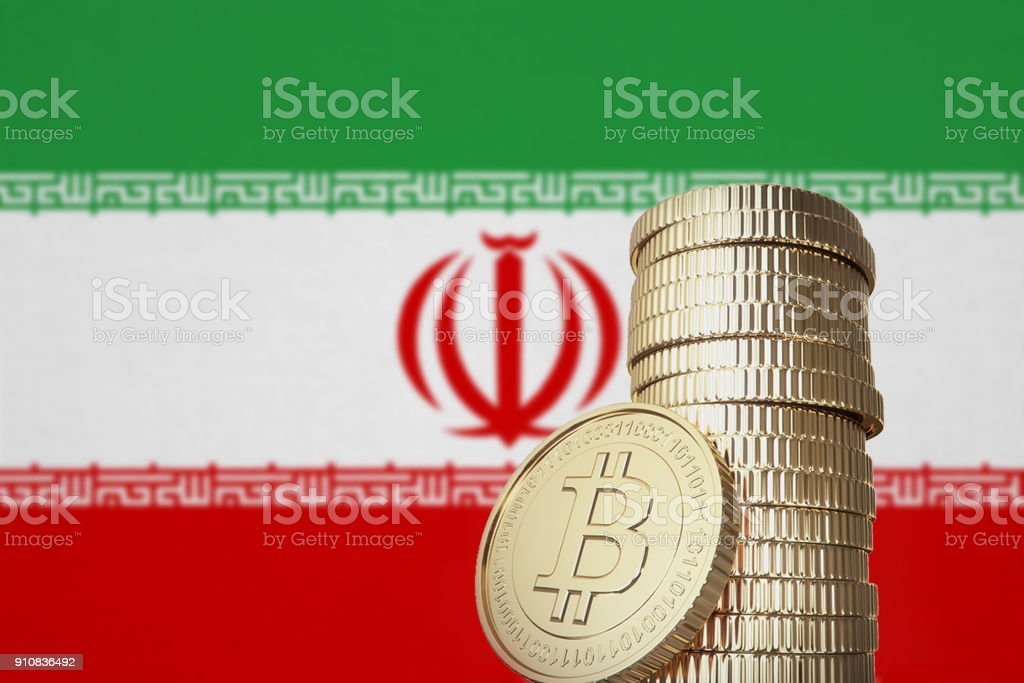 Bitcoin stack with Iran flag in the background stock photo
