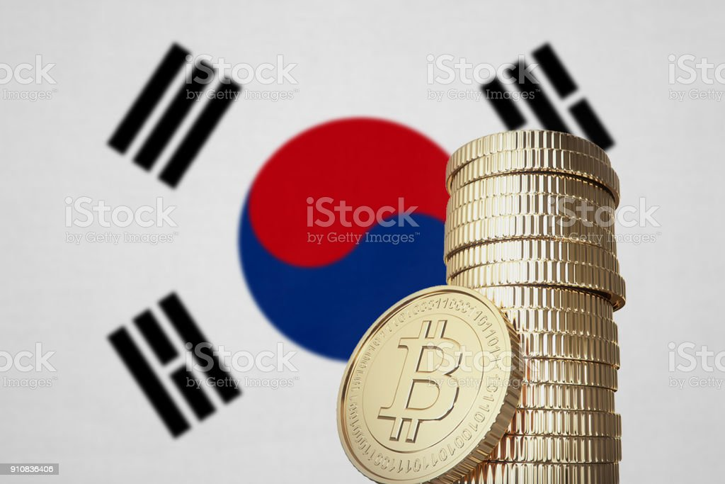 Bitcoin stack with South Korea flag in the background stock photo