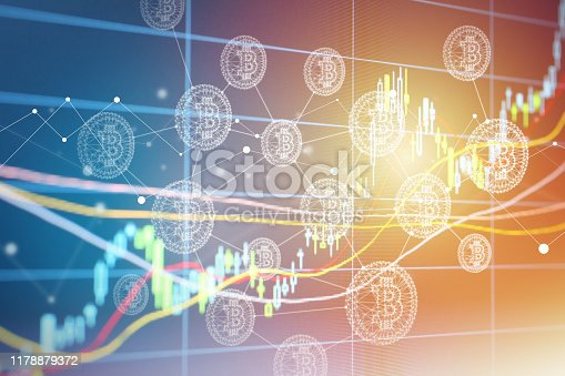 istock Bitcoin Symbol and Blockchain Network Graphic on Stock Market Chart 1178879372