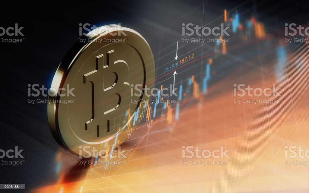 Bitcoin  Symbol Over Financial Chart - Crypto Currency Concept stock photo