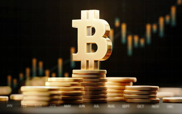 bitcoin symbol with financial chart over dark background - bitcoin stock photos and pictures