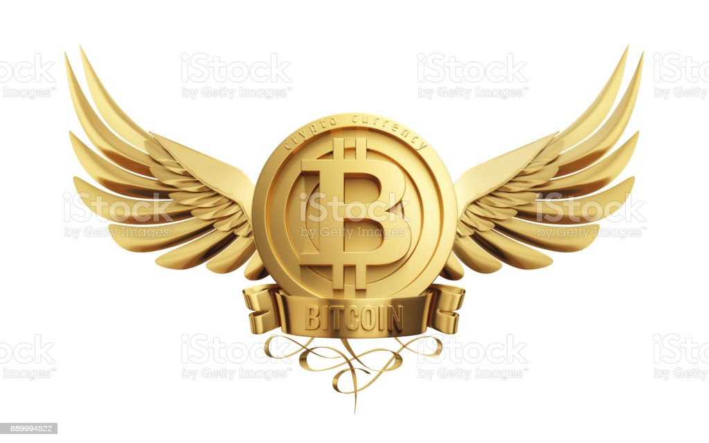 Bitcoin symbol with golden wings. stock photo