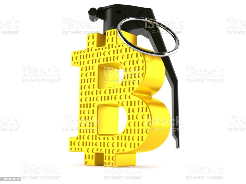 Bitcoin Symbol With Hand Grenade Fuse Stock Photo - Download Image
