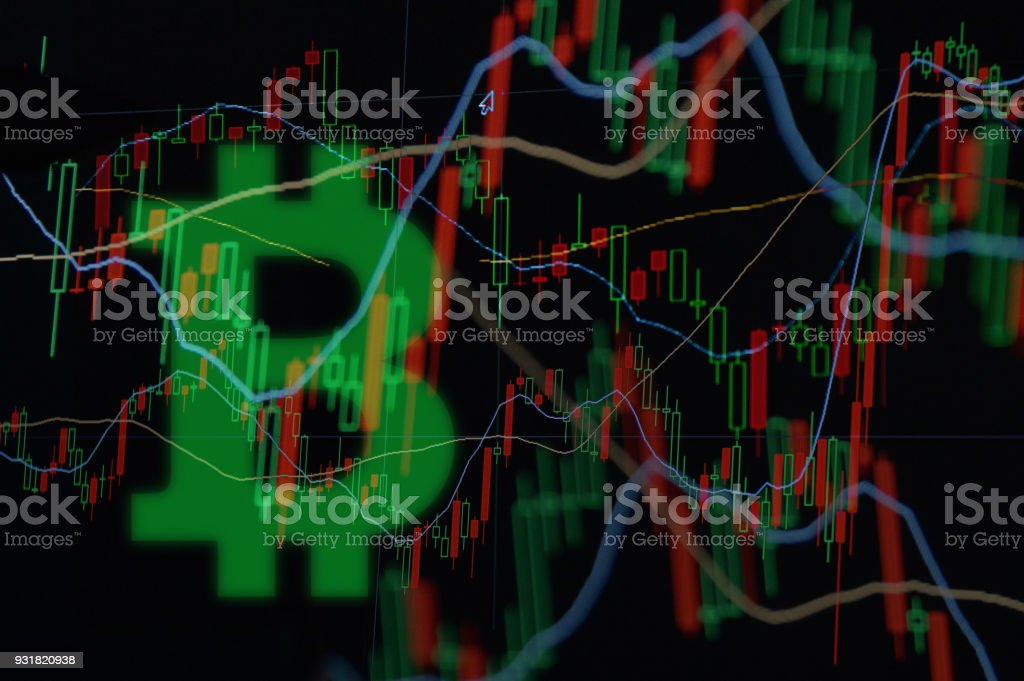 Bitcoin Trading Market Data Chart Stock Photo - Download Image Now