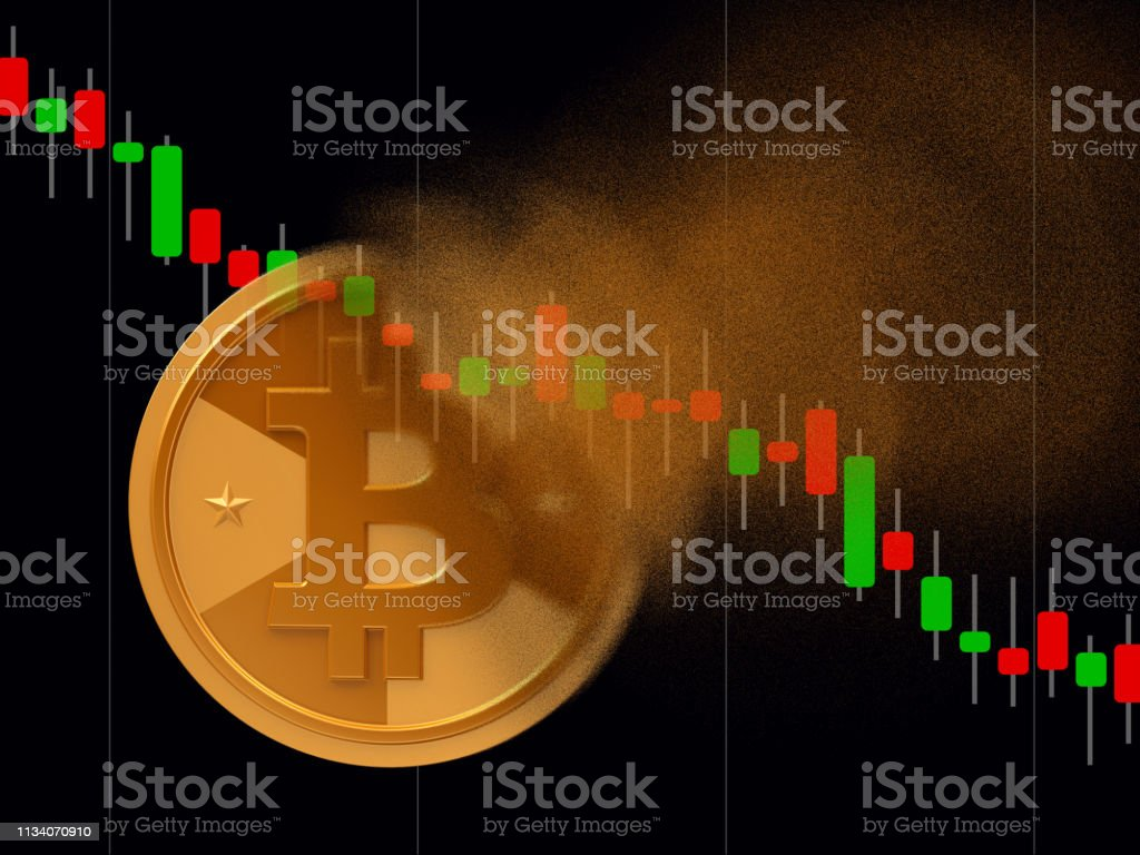 Bitcoin turns to dust Golden cryptocurrency coin - bitcoin turns to dust, cryptocurrency falling concept, realistic 3d illustration Backgrounds Stock Photo
