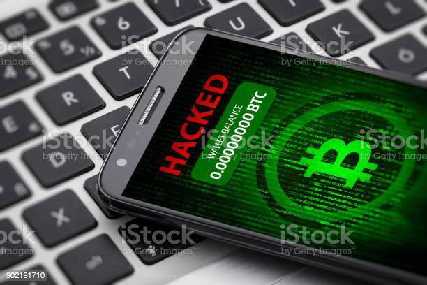 Bitcoin Wallet Hacked Message On Smart Phone Screen Stock Photo - Download Image Now
