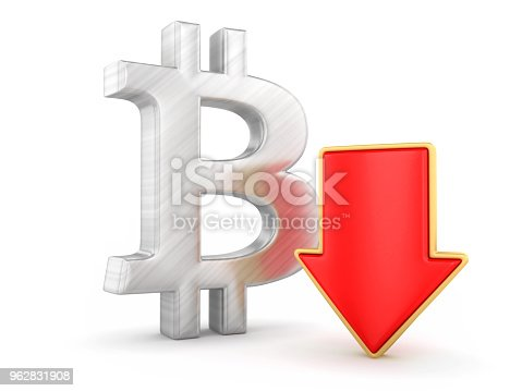 842160218istockphoto Bitcoin with arrow down 962831908