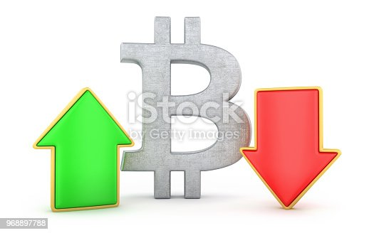 842160218istockphoto Bitcoin with arrows up and down 968897788