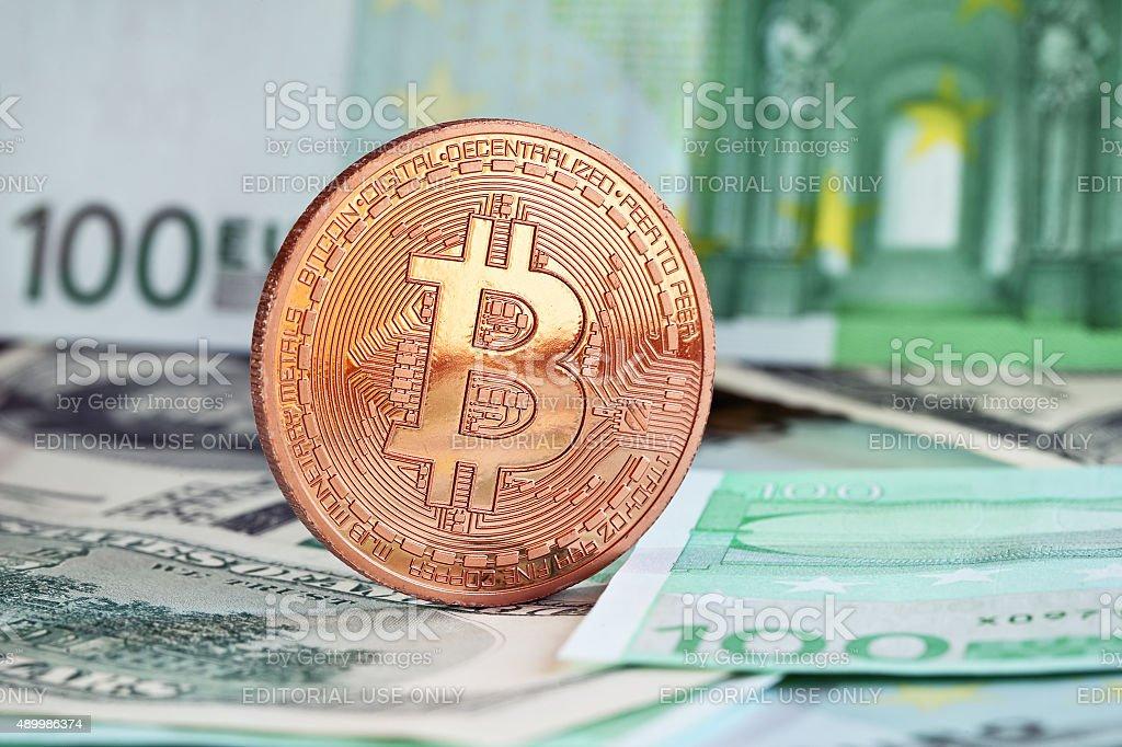 bitcoins and euro money stock photo