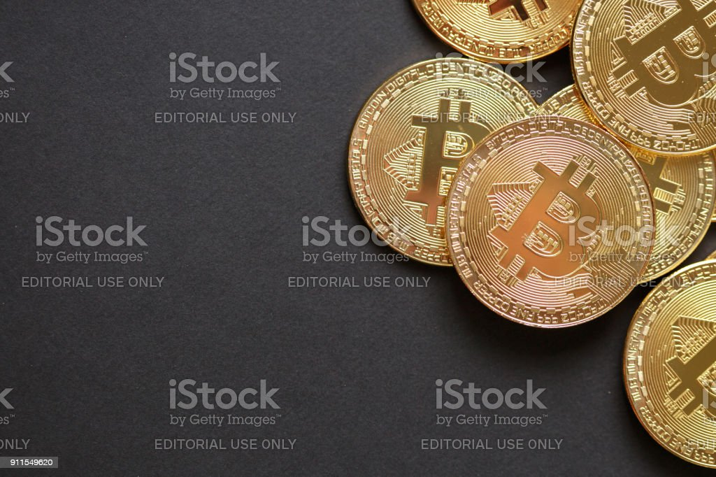 Bitcoins and Virtual money. Golden Bitcoins. Concept worldwide cryptocurrency stock photo