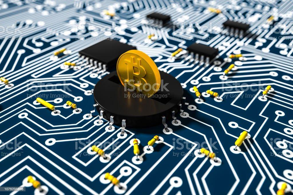 Bitcoins on the circuit board stock photo