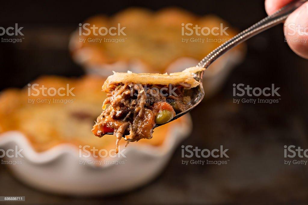 Bite Of Beef Pot Pie stock photo