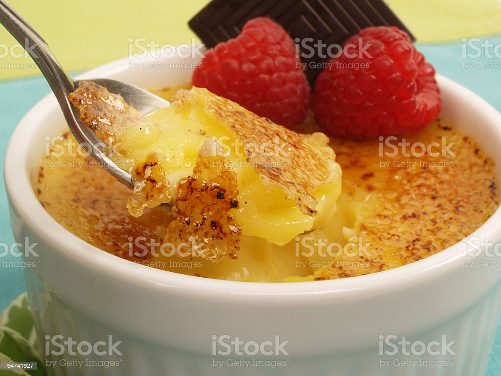 Bite of Brulee stock photo