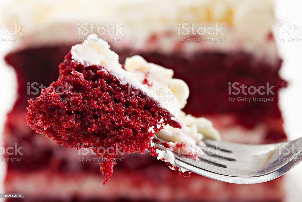 Bite Of Red Velvet Cake stock photo