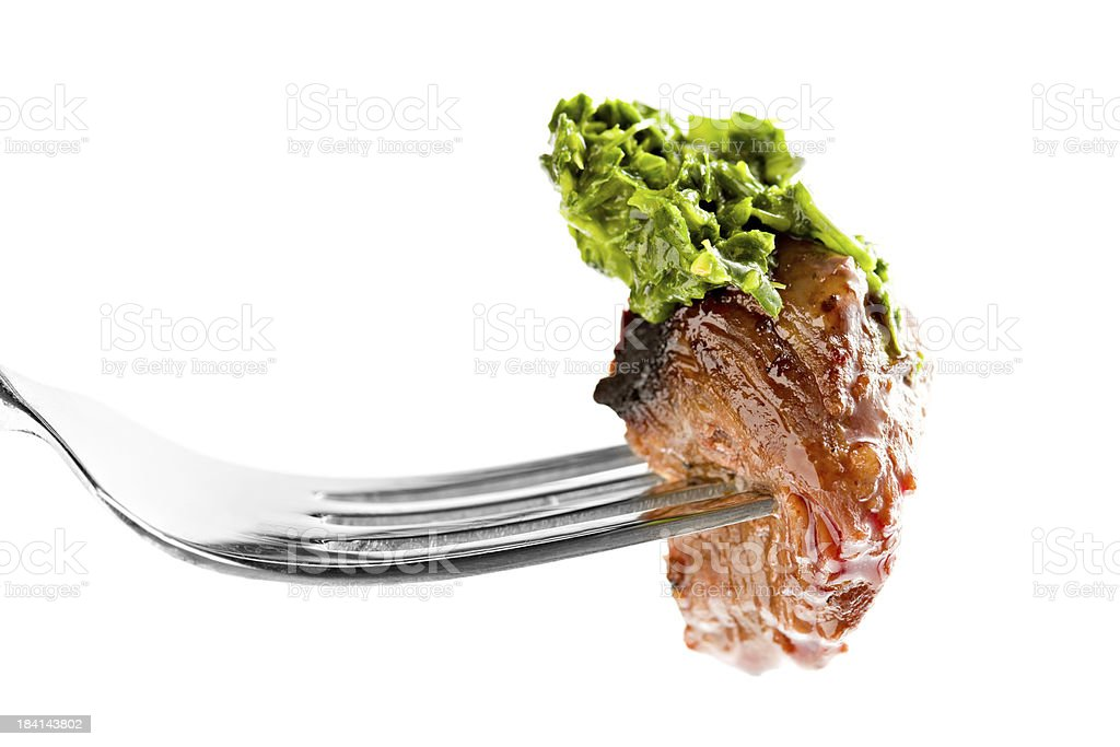Bite Of Steak With Chimichurri royalty-free stock photo