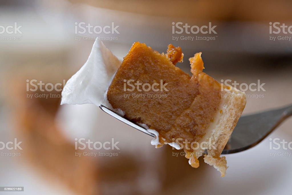 Bite Of Thanksgiving Pumpkin Pie stock photo
