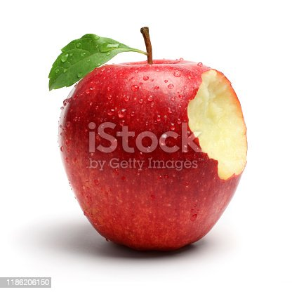 A bite on a red apple, isolated on white background.