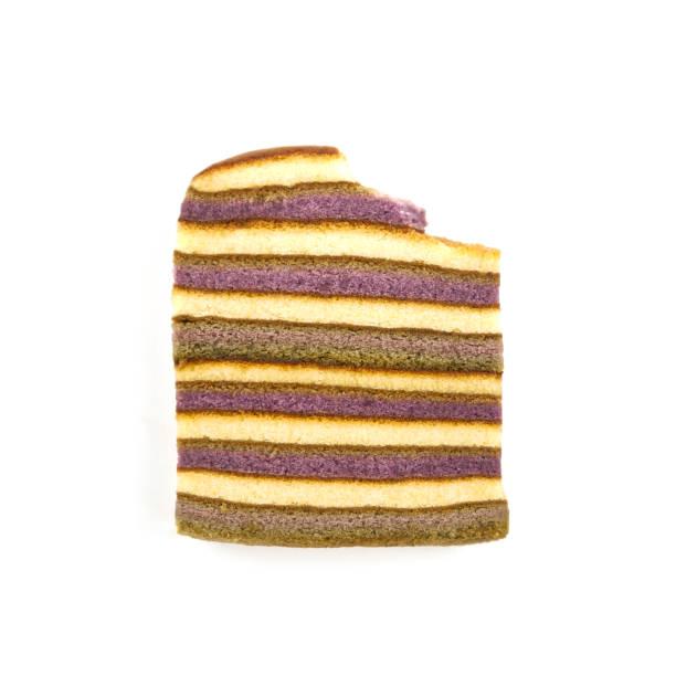 咬條紋黃油蛋糕海綿被隔離在白色的背景。垂直斑馬或大理石蛋糕。頂部視圖。關門了gif 動畫的進食順序。 - gif 個照片及圖片檔