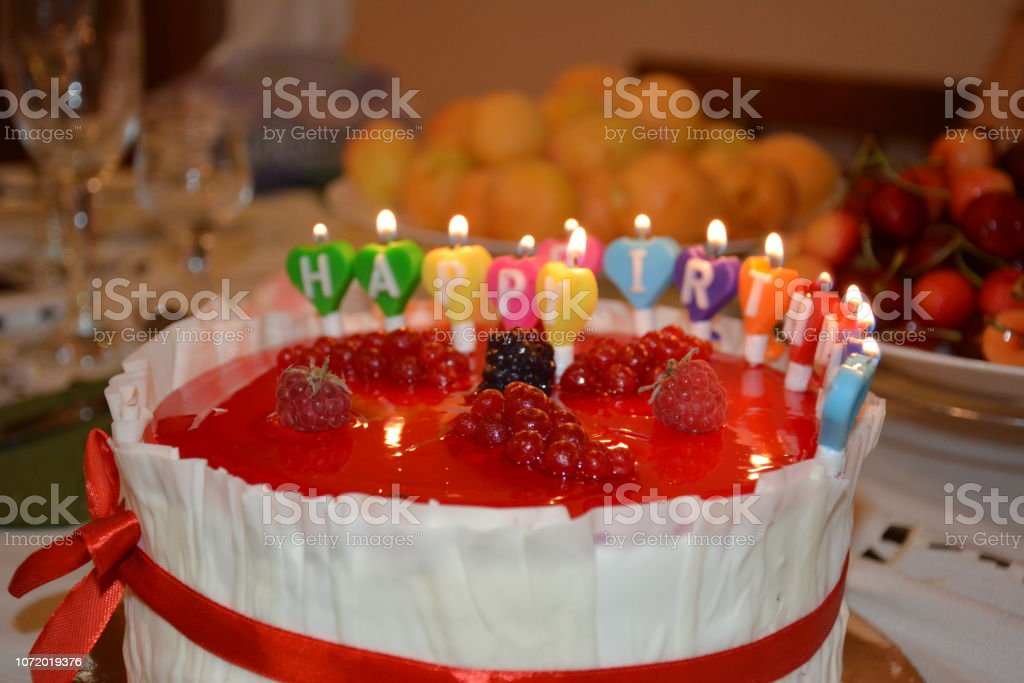 Bithday's cake with candles stock photo