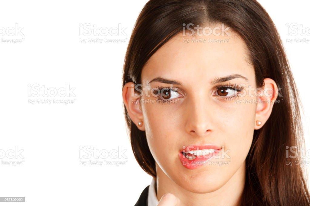 Biting Her Lip stock photo