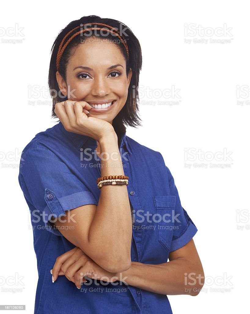 Biting her nails in excitement royalty-free stock photo