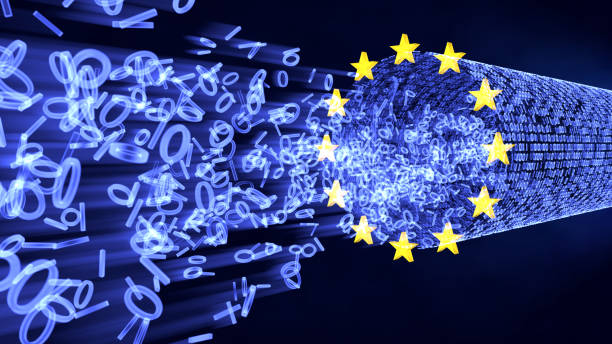 eu gdpr bits and bytes in data stream - bit binary stock pictures, royalty-free photos & images