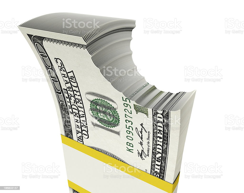 bitten $ 100 bills royalty-free stock photo