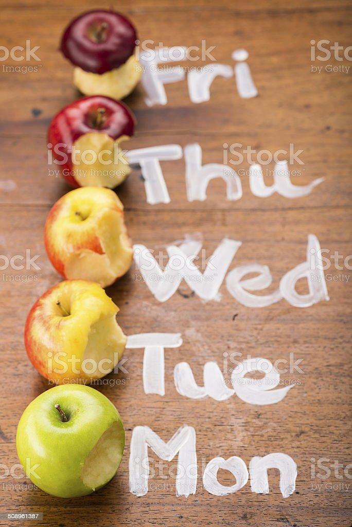 Bitten apples stock photo