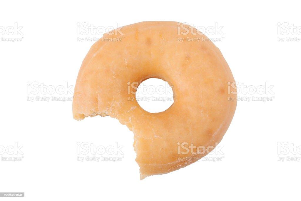 Bitten doughnut or donut stock photo